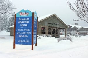 Brundage adventure center in the snow