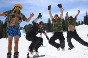 Beer Relay winners jump to celebrate