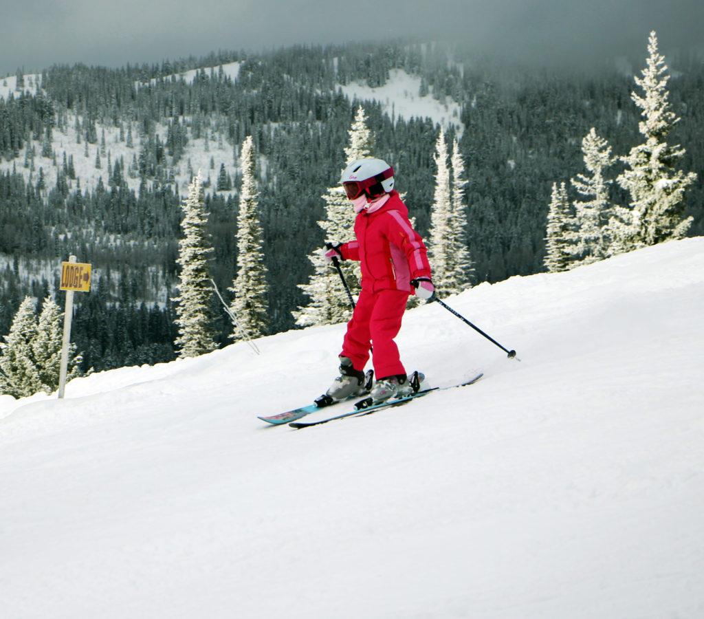 little girl skis