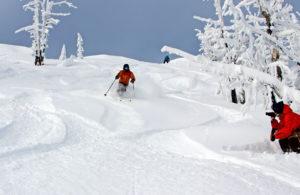 video crew powder skier