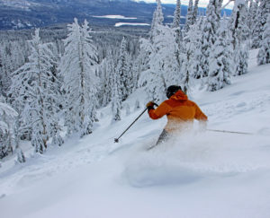 skiing away