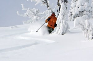 skier knee deep powder
