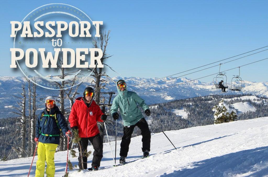 Passport to Powder logo on Three Guys Posing